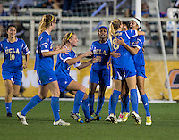 Ally Courtnall, Abby Dahlkemper. UCLA advanced on penalty kicks after defeating Virginia, 1-1, in regulation time at the NCAA Women's College Cup semifinals at WakeMed Soccer Park in Cary, NC.