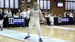 12 February 2017: UNC's Meredith Bozentka during Saber. The Duke University Blue Devils hosted the University of North Carolina Tar Heels at Card Gym in Durham, North Carolina in a 2017 College Women's Fencing match. Duke won the dual match 14-13 overall and 7-2 in Epee. UNC won Foil 6-3 and Saber 5-4.