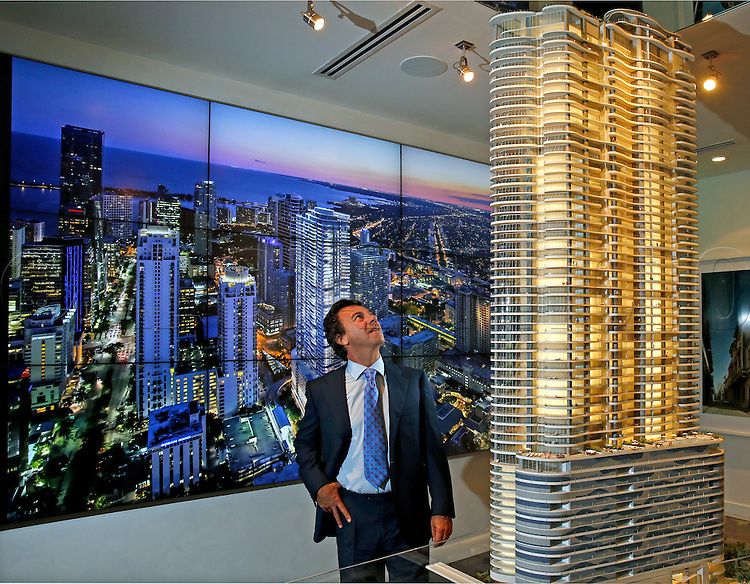 Developer Ugo Colombo, CMC Group, at the sales center for his Brickell project Brickell Flatiron in Miami on Friday, June 12, 2015.