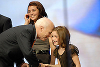 St. Paul, MN - September 3, 2008: Republican Presidential nominee John McCain greets Sarah Palin's daughter Piper at the 2008 Republican National Convention in St. Paul, Minnesota..