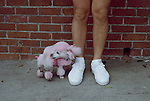 USA-10471, Sunset Boulevard, 09/1991, Los Angeles, California, USA. A pink poodle stands by a person.<br />