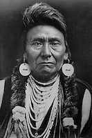 "Chief Joseph (March 3, 1840 - September 21, 1904) was the chief of the Wallowa band of Nez Perce during General Oliver O. Howard's attempt to forcibly remove his band and the other ""non-treaty"" Nez Perce to a reservation in Idaho. Edward S. Curtis photographer."