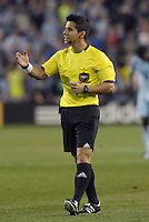 Referee Armando Villarreal..Sporting Kansas City defeated D.C Utd 1-0 at Sporting Park, Kansas City, Kansas.