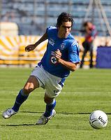 Cruz Azul forward Cesar Delgado runs for the ball during the soccer match against Veracruz Tiburones in the Azul Stadium in Mexico City, April 8, 2006. Cruz Azul won 3-0 to Veracruz... Photo by © Javier Rodriguez