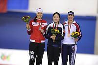 SPEEDSKATING: CALGARY: 13-11-2015, Olympic Oval, ISU World Cup, Podium Ladies 500m, Hong Zhang (CHN), Sang-Hwa Lee (KOR), Brittany Bowe (USA), ©foto Martin de Jong