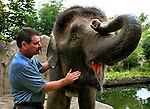 The Oregon Zoo's deputy director Mike Keele spends some quality time with Chendra, a 13-year old pygmy elephant from Borneo....