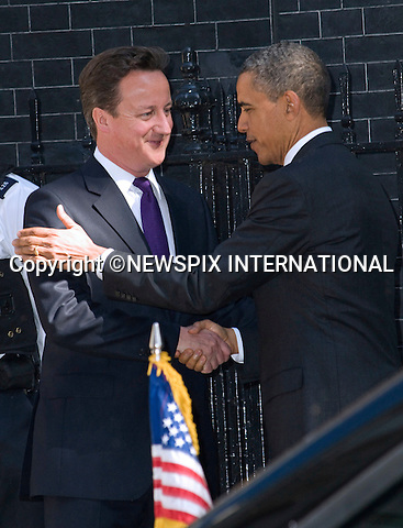 """PRESIDENT BARACK OBAMA AND PM DAVID CAMERON.meeting at No.10 Downing Street, LONDON_25/05/2011.Mandatory Photo Credit: ©Dias/Newspix International..**ALL FEES PAYABLE TO: """"NEWSPIX INTERNATIONAL""""**..PHOTO CREDIT MANDATORY!!: NEWSPIX INTERNATIONAL(Failure to credit will incur a surcharge of 100% of reproduction fees)..IMMEDIATE CONFIRMATION OF USAGE REQUIRED:.Newspix International, 31 Chinnery Hill, Bishop's Stortford, ENGLAND CM23 3PS.Tel:+441279 324672  ; Fax: +441279656877.Mobile:  0777568 1153.e-mail: info@newspixinternational.co.uk"""