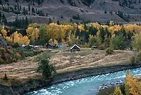 Cariboo Chilcotin Coast Region, BC, British Columbia, Canada - Old Historic Homestead along Chilcotin River in Farwell Canyon