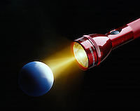 FLASHLIGHT BEAM ON SPHERE<br /> Diffuse Reflection By Matte Surface<br /> (Sun-Earth analogy)