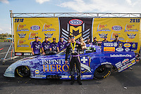 Sep 25, 2016; Madison, IL, USA; NHRA funny car driver Jack Beckman celebrates with crew after winning the Midwest Nationals at Gateway Motorsports Park. Mandatory Credit: Mark J. Rebilas-USA TODAY Sports
