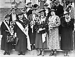 Offiers of the state chapter of the DAR attend a meeting at the Frist Baptist Church, Waterbury, 1936. Pictured left to right are:<br /> First row: Mrs. John Laidlaw Buel, Mrs. George Maynard Minor, Miss Emeline Street, state regent; Mrs. Frederick P. Latimer, vice regent; and Mrs. J. Laurence Raymond. <br /> Second row: Mrs. Charles Gildersleeve, member of the state council, Mrs. William LaPlace, Mrs. Robert S. Walker, regent of Melicent Porter Chapter.<br /> Third row: Mrs. Phineas Ingalls, a member of the state council; Miss Katherine Matthies, Mrs. Edward Ingraham, Mrs. Hnery B. Armstrong, Jr., and Mrs. Howard S. Parsons, recording secretary.
