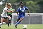 07 September 2014: Duke's Toni Payne (10) and Penn State's Maddie Elliston (5). The Duke University Blue Devils hosted the Penn State University Nittany Lions at Koskinen Stadium in Durham, North Carolina in a 2014 NCAA Division I Women's Soccer match. PSU won the game 4-3.