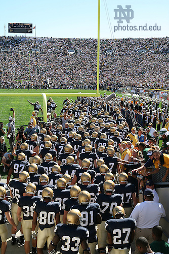 The Notre Dame Football team takes the field against Michigan State, Sept. 22, 2007.<br />
