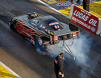 Aug 20, 2016; Brainerd, MN, USA; NHRA top alcohol funny car driver Chris Foster during qualifying for the Lucas Oil Nationals at Brainerd International Raceway. Mandatory Credit: Mark J. Rebilas-USA TODAY Sports