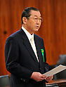 April 3, 2012, Tokyo, Japan - Isao Ishiyama, a former Social Insurance Agency official, speaks as an unsworn witness before a Diet upper house financial committee meeting probing into the pension fund scam in Tokyo on Tuesday, April 3, 2012. (Photo by Natsuki Sakai/AFLO) AYF -mis-