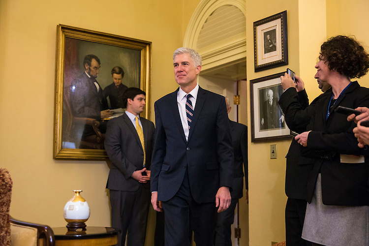 Supreme Court Nominee Judge Neil Gorsuch arrives to meet with Vice President Mike Pence and Senate Majority Leader Mitch McConnell of Kentucky, on Capitol Hill, in Washington, Feb. 1, 2017. (Al Drago/Pool/The New York Times)