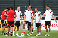 Miroslav Klose and Thomas Muller of Germany during training ahead of tomorrow's World Cup Final