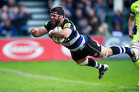 Guy Mercer of Bath Rugby dives for the try-line but the score is later ruled out because of  a forward pass. Aviva Premiership match, between Bath Rugby and Sale Sharks on April 23, 2016 at the Recreation Ground in Bath, England. Photo by: Patrick Khachfe / Onside Images