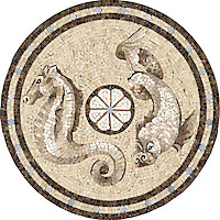 27 inch Dragon/Seahorse medallion in Travetine White, Emperador Dark, Ivory Cream, Celeste, Jura Grey, Gascogne Blue, Saint Vincent, Saint Richard, Emperador Light polished
