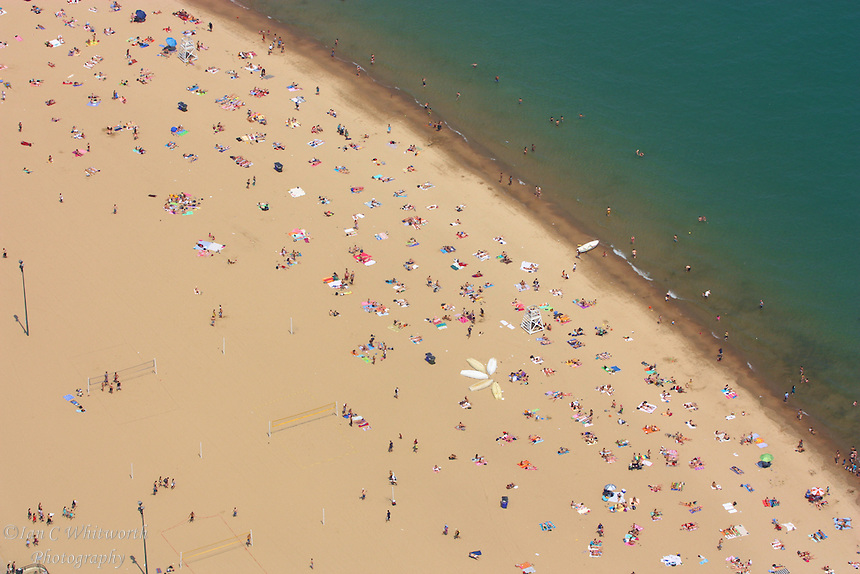 Looking down on the Chicago beach from the John Hancock Center
