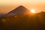 Sunrise over Mount Ebulobo, a volcano east of Bajawa, Flores
