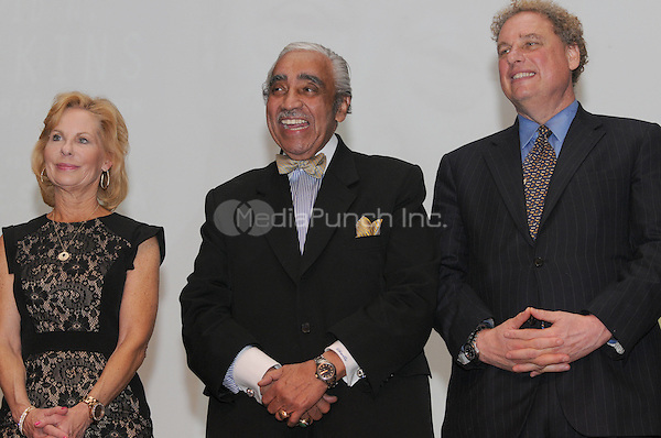 NEW YORK, NY - APRIL 3: Sarah Wallace, Charles B. Rangel, Randy Levine pictured as David N. Dinkins, 106th Mayor of the City of New York, receives the Dr. Phyllis Harrison-Ross Public Service Award for a lifetime of public service at the New York Society of Ethical Culture in New York City on April 3, 2014. Credit: Margot Jordan/MediaPunch