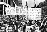 Manhattan, New York City, NY, June 29th, 1970.<br /> More than 150.000 showed up at Columbus Circle in New York City for an &quot;Italian-American Unity Day Rally&quot;.  Joy Colombo Senor and his son Joseph were leading the rally.