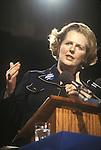 "Mrs Maggie Margaret Thatcher 1983 General Election press conference. London Uk. ""Love Maggie X "" badge."