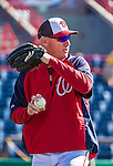 11 March 2014: Washington Nationals Manager Matt Williams warms up prior to a Spring Training game against the New York Yankees at Space Coast Stadium in Viera, Florida. The Nationals defeated the Yankees 3-2 in Grapefruit League play. Mandatory Credit: Ed Wolfstein Photo *** RAW (NEF) Image File Available ***