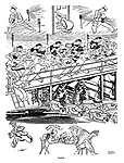 News. (an Interwar cartoon showing the news gathering of reporters, typists, office clerks and the despatch of newspapers to readers)