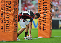 Jonny May scores a try. J.P. Morgan Premiership Rugby 7s match, between Exeter Chiefs and Gloucester Rugby on July 27, 2012 at Kingsholm Stadium in Gloucester, England. Photo by: Patrick Khachfe / Onside Images