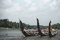 Vallamkali (Snake boats race) at Aranmulla is one of the most respected celebration during Onam Festival, Aranmula, Allepey, Kerala, India.