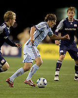 Colorado Rapids midfielder Wells Thompson (15) dribbles. The Colorado Rapids defeated the New England Revolution, 2-1, at Gillette Stadium on April 24, 2010.