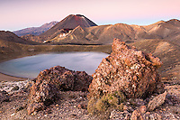 Sunrise over Blue Lake and Mount Ngaruhoe, Tongariro National Park, Central Plateau, North Island, UNESCO World Heritage Area, New Zealand, NZ