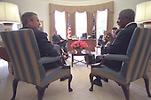 United States President George W. Bush meets with United Nations (UN) Secretary General Kofi Annan and senior staff in the Oval Office of the White House in Washington, D.C., Wednesday, November 28, 2001..Mandatory Credit: Eric Draper - White House via CNP.