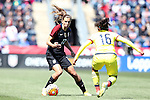 10 April 2016: Tobin Heath (USA) (17) and Leicy Santos (COL) (16). The United States Women's National Team played the Colombia Women's National Team at Talen Energy Stadium in Chester, Pennsylvania in an women's international friendly soccer game. The U.S. won the match 3-0.