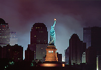 Statue of Liberty and Lower Manhattan after attack on the World Trade Center, Twin Towers,  Sep 11, 2001, Manhattan, New York City, New York