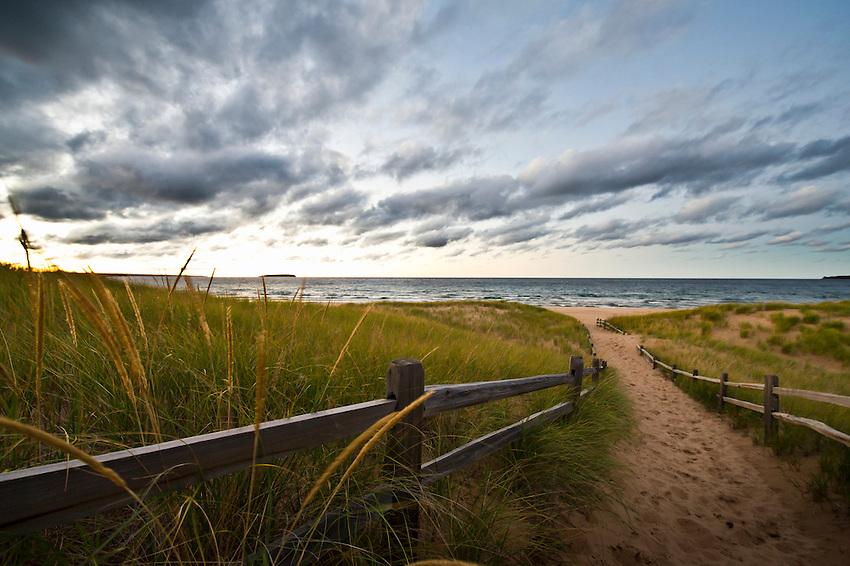 AuTrain Beach at Lake Superior at dusk near AuTrain Michigan on the Upper Peninsula.