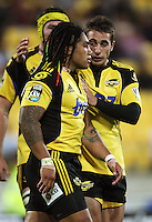 Hurricanes winger Andre Taylor congratulates Ma'a Nonu on his try during the Super 14 rugby match between the Hurricanes and Western Force at Westpac Stadium, Wellington, New Zealand on Saturday, 20 February 2010. Photo: Dave Lintott / lintottphoto.co.nz