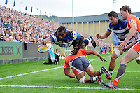 Semesa Rokoduguni of Bath Rugby dives for the try-line. Aviva Premiership match, between Bath Rugby and Newcastle Falcons on September 10, 2016 at the Recreation Ground in Bath, England. Photo by: Patrick Khachfe / Onside Images