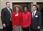 "SOUTHBURY, CT - 1 April 2004 - 040104TH08 -  Chad Wable of Cheshire and St. Marys Hospital, Sandy Vigliotti of Waterbury and Fleet Bank, Teddey-Brown, cq, singer/actor out of New Haven, and Andrew Roberts of Cheshire and Executive Director of the Waterbury YMCA, pose at the United Way of Greater Waterbury ""Digging Deeper"" Campaign 2003-04 Awards Dinner held at the Southbury Hilton Hotel Thursday night.  TODD HOUGAS PHOTO"