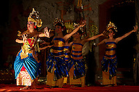 Traditional Legong and Ramayana dance by the Bina Remaja Troupe during a performance for tourists.<br />