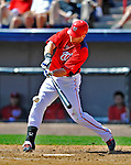 12 March 2012: Washington Nationals outfielder Corey Brown connects for an RBI single to tie the game at 4-4 during a Spring Training contest against the St. Louis Cardinals at Space Coast Stadium in Viera, Florida. The Nationals defeated the Cardinals 8-4 in Grapefruit League play. Mandatory Credit: Ed Wolfstein Photo