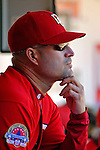 16 September 2007: Washington Nationals Manager Manny Acta watches action from the dugout during a game against the Atlanta Braves at Robert F. Kennedy Memorial Stadium in Washington, DC. The Braves shut out the Nationals 3-0 in the third game of their 3-game series...Mandatory Photo Credit: Ed Wolfstein Photo