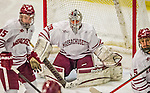 24 November 2013: University of Massachusetts Goaltender Steve Mastalerz, a Junior from North Andover, MA, in action during the third period against the University of Vermont Catamounts at Gutterson Fieldhouse in Burlington, Vermont. The Cats shut out the Minutemen 2-0 to sweep the 2-game home-and-away weekend Hockey East Series. Mandatory Credit: Ed Wolfstein Photo *** RAW (NEF) Image File Available ***