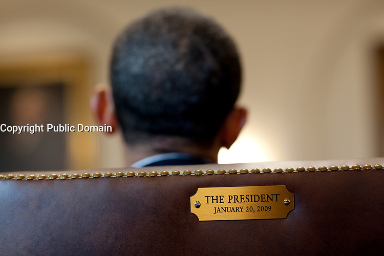 President Barack Obama meets with members of his Cabinet in the Cabinet Room of the White House, Jan. 29, 2010. The President&rsquo;s chair is marked with a plaque engraved with the date of his inauguration. (Official White House Photo by Pete Souza)<br /> <br /> This official White House photograph is being made available only for publication by news organizations and/or for personal use printing by the subject(s) of the photograph. The photograph may not be manipulated in any way and may not be used in commercial or political materials, advertisements, emails, products, promotions that in any way suggests approval or endorsement of the President, the First Family, or the White House.