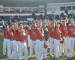 Ole Miss players tip their hat to the crowd following a game vs. Wright State at Oxford University Stadium in Oxford, Miss. on Sunday, February 20, 2011. Ole Miss won 6-5 to improve to 3-0 on the season.
