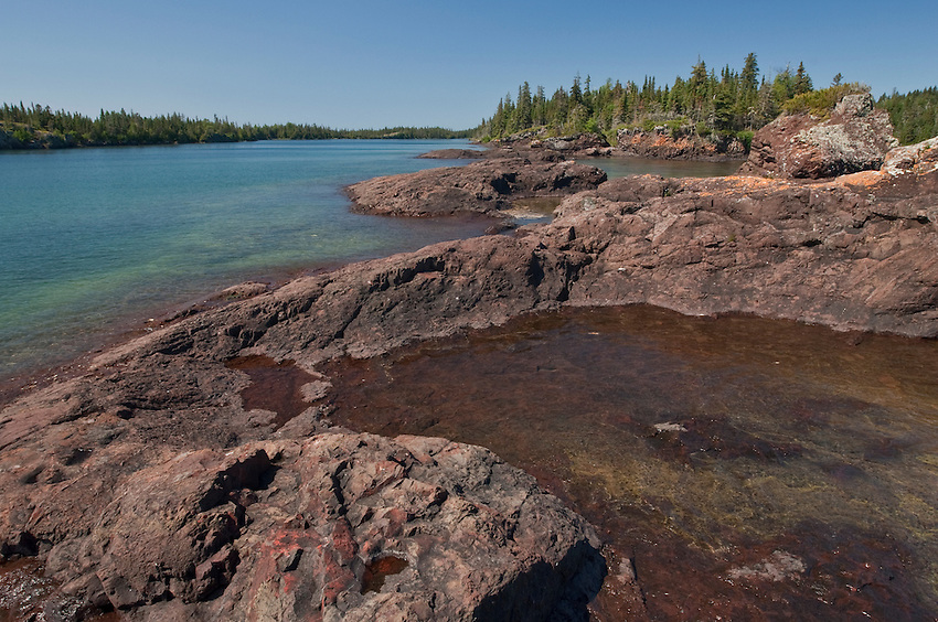 Lake superior shoreline at isle royale national park