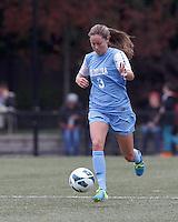 University of North Carolina defender Megan Brigman (3) brings the ball forward.   University of North Carolina (blue) defeated Boston College (white), 1-0, at Newton Campus Field, on October 13, 2013.