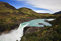 The Salto Grande Waterfall on the Rio Paine plunges towards Lago Peho.